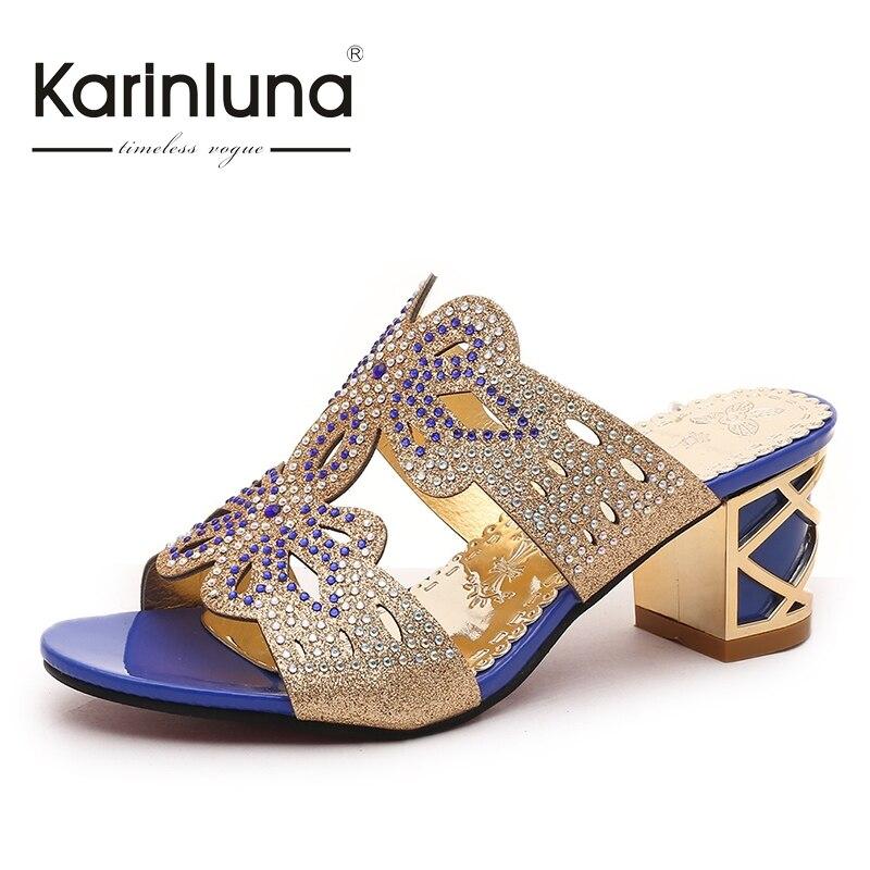 ФОТО KARINLUNA Brand Designer Women Summer Shoes Woman Square High Heels Open Toe Platform Rhinestone Sandals