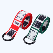 цена на New barcode invoice Printed Belt Women Harajuku waistband Fashion Unisex Double D Ring Canvas Strap Female Long Belts For Jeans