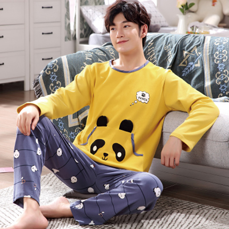 Yidanna Male Pajamas Set Cartoon Long Sleeved Sleep Clothing Winter Sleepwear Cotton Nightwear Men Nighty Casual O Neck Fashion