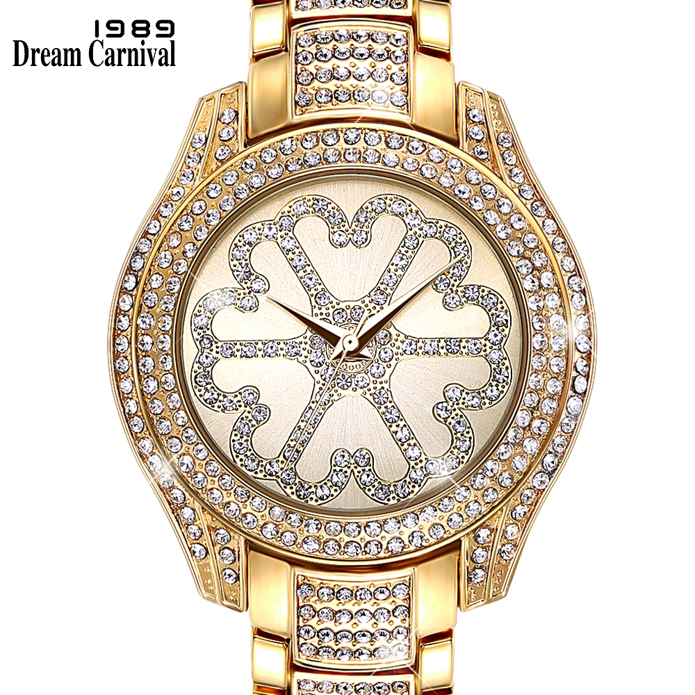 Dreamcarnival 1989 New Arrive Quartz Watch For Women Blink Crystal Shinning Luxury Gift Big Clock Saudi Dubai Hot Selling A8266