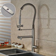 Chrome Finish Pull Down Kitchen Faucet Single Handle with Hole Cover Plate Free Kitchen Mixer Taps