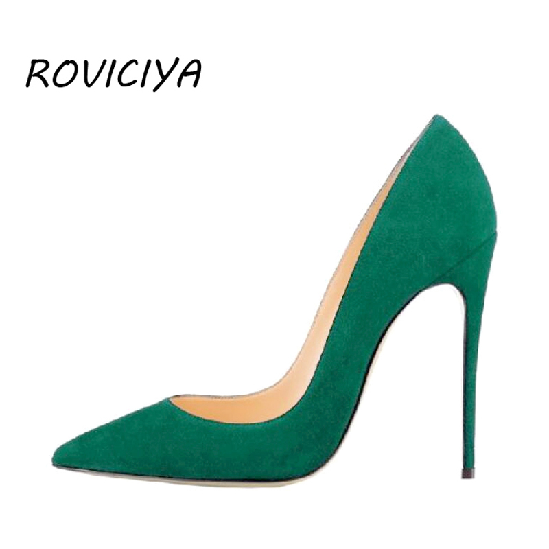 Women Pumps for Wedding Pointed Toe Sexy High Heels Shoes 8 cm 10 cm 12 cm Stilettos Green Pinkycolor plus size RM002 ROVICIYA apoepo women high heel pointed toe slip on sexy pumps 10 cm and 12 cm nude high heel wedding bride shoes concise style stilettos