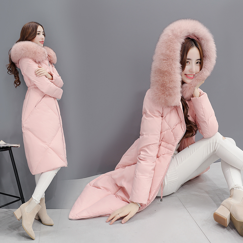 pink Fourrure En gray Femmes Femelle Noir Long Nouveau Coupe Black Ayunsue Fausse D'hiver Le Super Bas 2018 Lx1000 Épaississement Veste Manteau Capot Outwear vent Chaud Vers S4ZqfT