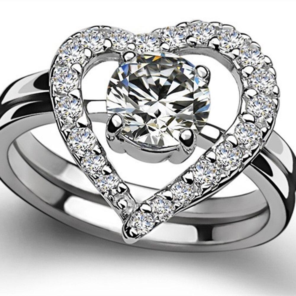 Threeman Genuine Moissanite Diamond Heart Shape 05ct Engagement Rings Set  Solid 18k White Gold Wedding