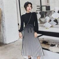 2018 Autumn winter New Fashion turtleneck Knit Dress Women Long Sleeve Stripe Dress Patchwork of Knit & Tulle high quality
