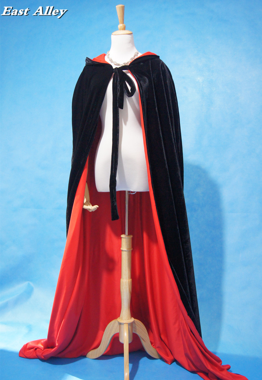 Wine red black velvet hooded cloak wedding cape Halloween wicca robe coat