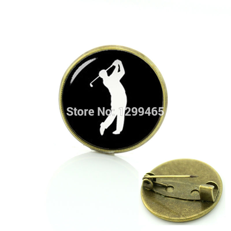 New Elegant Design sports silhouette Pins Vintage photo special gifts for father Legend golf player badge C 1243
