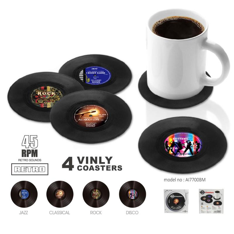 Dining Table Placemat Mat Retro Vinyl Record Coasters Cup Holder Pad Kitchen Tableware Drink Pads
