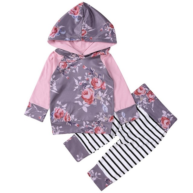 f84fd0af7499 2017 Autumn Newborn Baby Girl cotton Hoodie Violet T-shirt Top + Pants  Floral Printing Outfits Set Kids Clothes 0~18 M