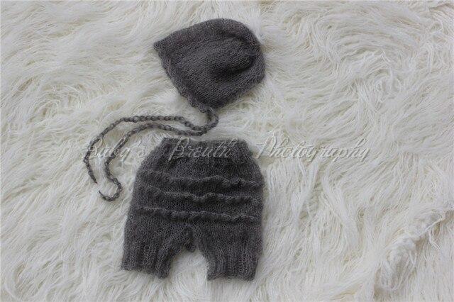 1bd2542f427 Lovely Knitted Newborn Mohair Baby Full Set Silk Mohair Pants and Bonnet  Newborn Photography Props