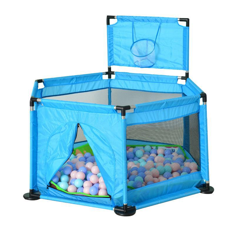 Portable Baby Playpen Game Fence Kids Activity Play House Indoor and Outdoor Safety Play Yard for Children 6 Corners Design