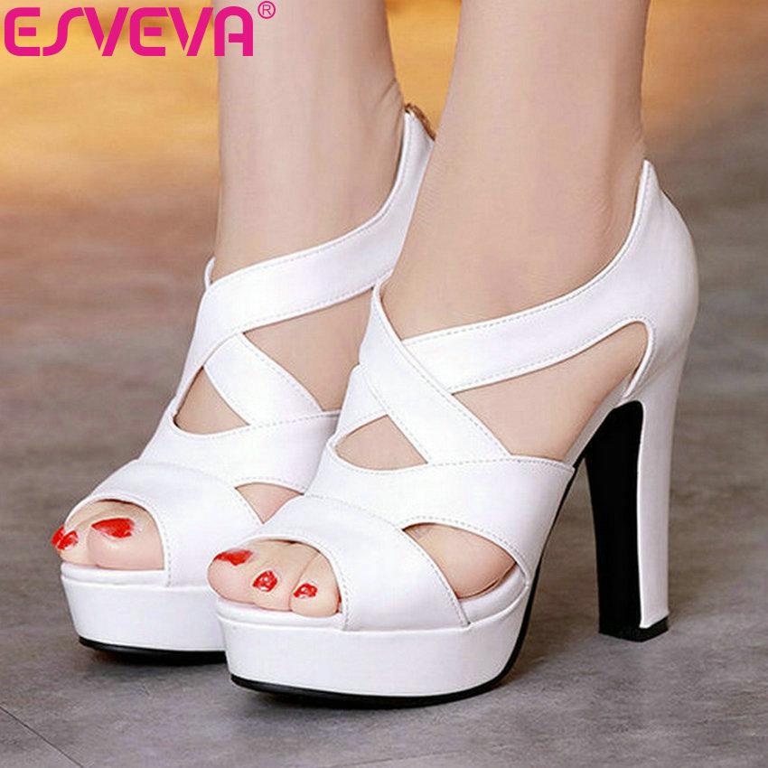 ESVEVA 2020 Women Shoes Sexy Peep Toe White Gladiator Summer square High Heels Woman Pumps Zip Wedding Party Shoes Size 34-43