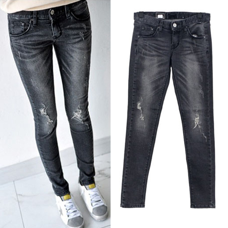 China Brand ladies stretch skinny trousers denim gray ripped jeans plus size pants xxxxxl knee hole jeans femme 2017 nouveaute liva girl spring women low waist sexy knee hole skinny jeans brand fashion pencil pants denim trousers plus size ripped jeans