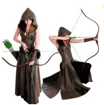 2XL Women Cosplay Costume Sexy Slim Lace Up Leather Medieval Ranger Dress Long Dress Sleeveless Dress Size