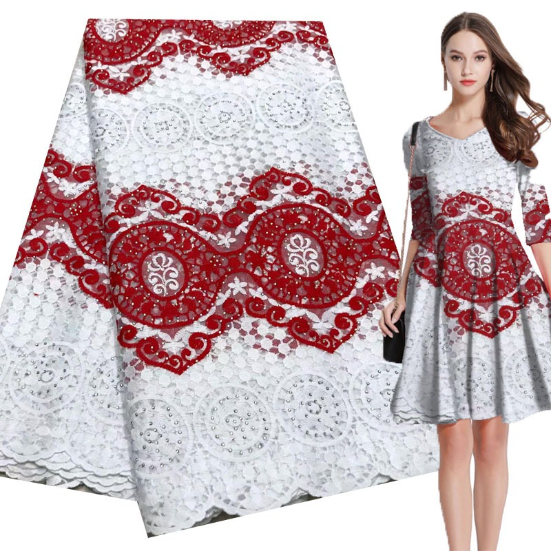African Lace Folk Style Pattern 120-135 Cm Width Fabric For Apparel And Fashion Sold By The 5Yard