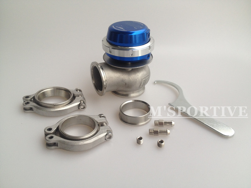 Wastegate 40mm 14psi external Wastegate turbo blue adjustable pressure with ClampWastegate 40mm 14psi external Wastegate turbo blue adjustable pressure with Clamp