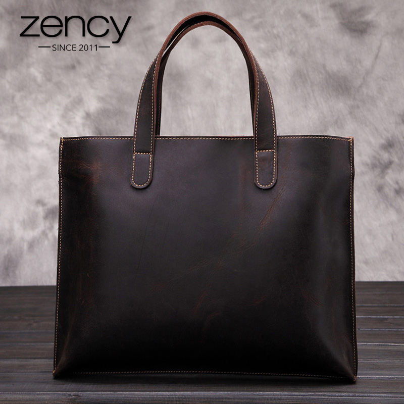 Vintage Genuine Leather Men Bag Business Totes Briefcase Portfolio Handbag Shoulder Messenger Men s Travel Laptop
