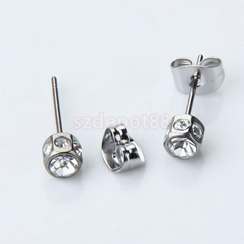 New 2015 Brand New 2pcs Mens Earring Ear Stud Stainless Steel Diamante Free Shipping
