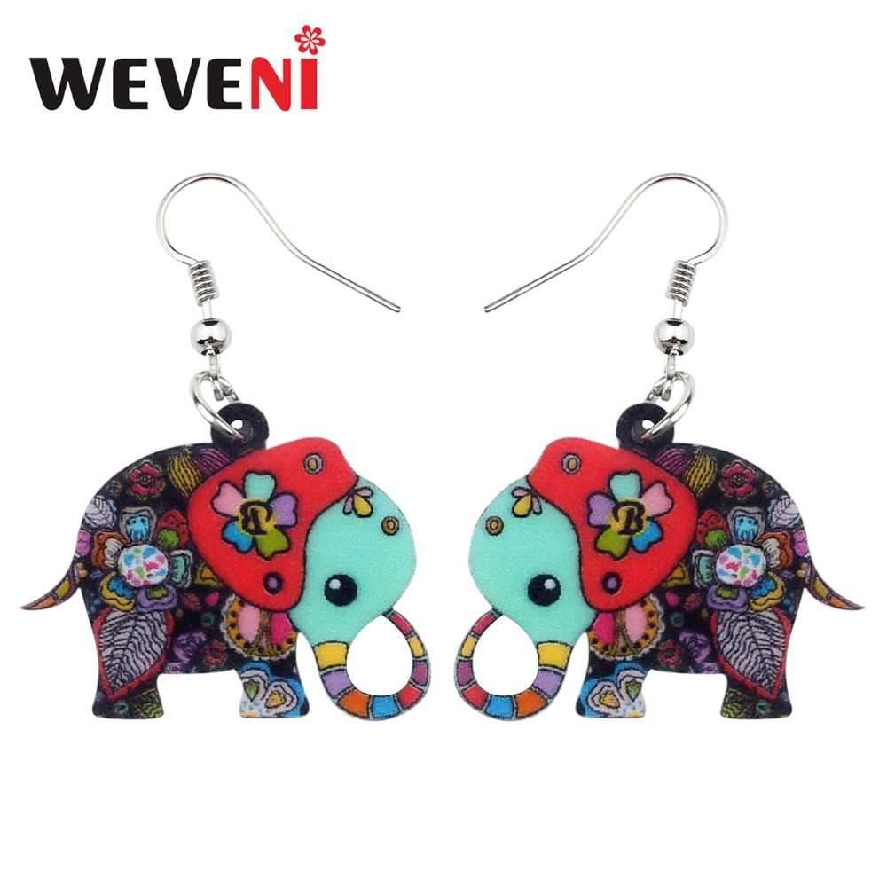 WEVENI Acrylic Cartoon Floral Jungle Elephant Earrings New Dangle Drop Fashion African Animal Jewelry For Women Girls Anime Gift