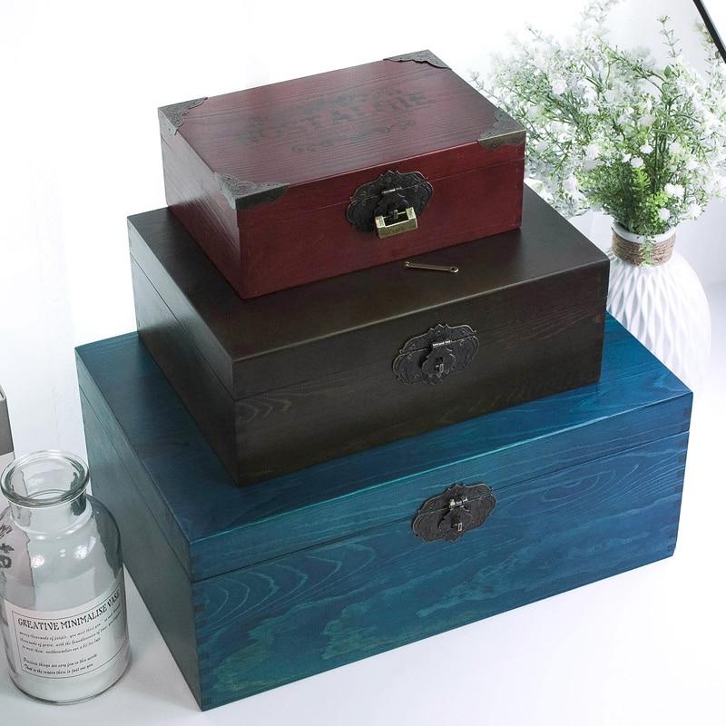 Zakka Vintage style égyptien en bois bijoux boîte de rangement pour cadeau petit artisanat en bois pour organisateur Desket décorations emballage