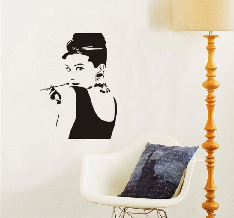 Aliexpress.com : Buy Hot Sale Audrey Hepburn Wall Decal Wall Mural Bedroom  Home Decorations DIY Newest Wall Art Living Room Decor Free Shipping Y 319  From ... Part 46