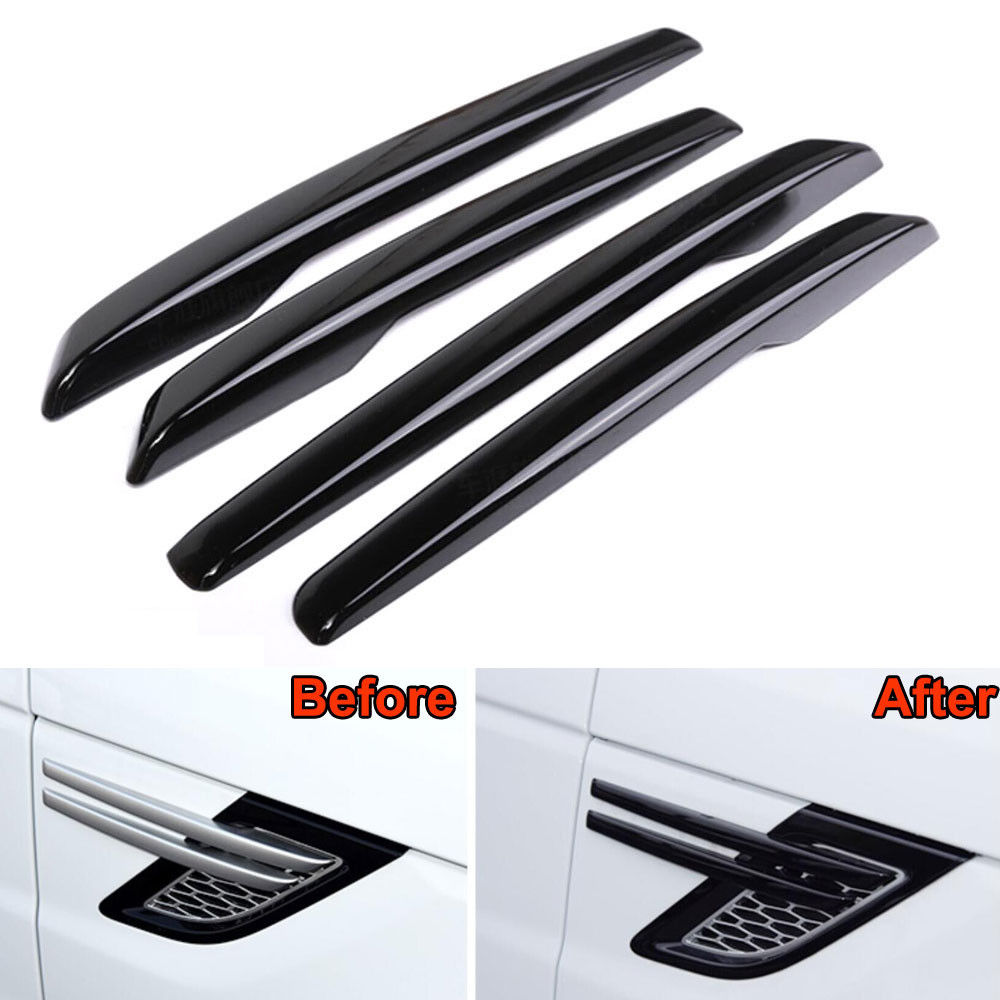 BBQ@FUKA 4pcs Car styling Car trim strip decals For 2014-2015 Range Rover Sport Black Car Strip Side Air Intake Vent Grille car styling for volvo xc60 chrome side door body trim for 2014 2016 xc60 high quality abs door edge decorative strip 4 pcs car a