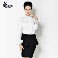 Ruoru Lady Office Ruffles Blouse Fashion Elegant Women Shirts White Color Blusas Mujer De Moda Casual Blouses Office Ladies Tops