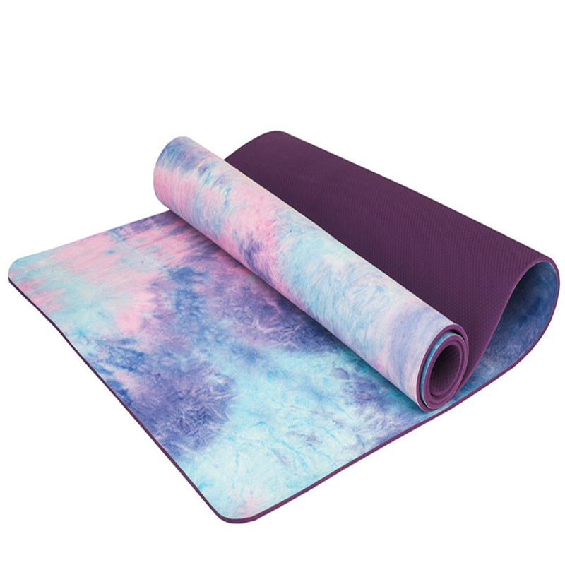 Hand-dyed Natural Suede TPE Yoga Mat Widened Anti-Slip Sweat Pilates Comfortable High Quality Fitness Pad