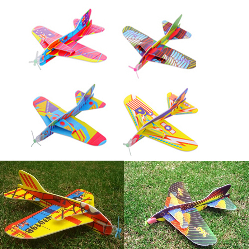 Creative Magic Roundabout Combat Aircraft Foam Paper Airplane Model Hand Throw Flying Glider Planes Toys For Children image