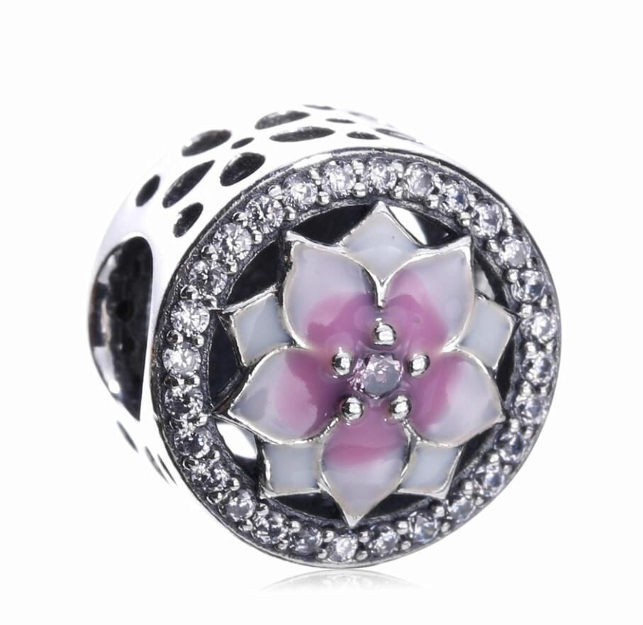 High Quality 925 Sterling Silver Magnolia Bloom Charm Beads Pink CZ Fit Original Pandora Charm Bracelet Authentic Jewelry Gift