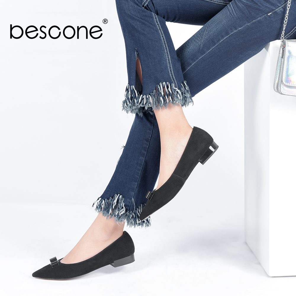 BESCONE Each day Girl Flats New Vogue Handmade Pointed Toe Slip-on Girl Sneakers Butterfly-knot Design for Feminine Fundamental Flats A32 Girls's Flats, Low cost Girls's Flats, BESCONE Each day...