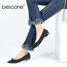 BESCONE Daily Woman Flats New Fashion Handmade Pointed Toe Slip-on Woman  Shoes Butterfly- 973f61bed9e3