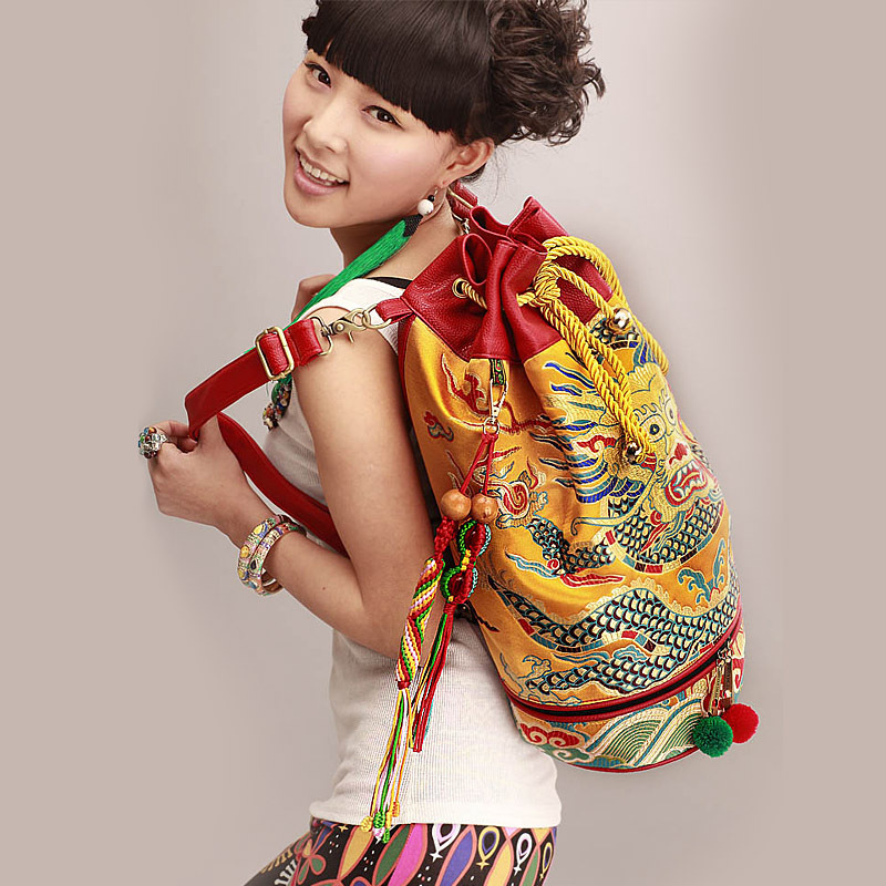 Vintage Loong pattern embroidery Women backpack Fashion PU leather brocade Ethnic Travel backpackVintage Loong pattern embroidery Women backpack Fashion PU leather brocade Ethnic Travel backpack