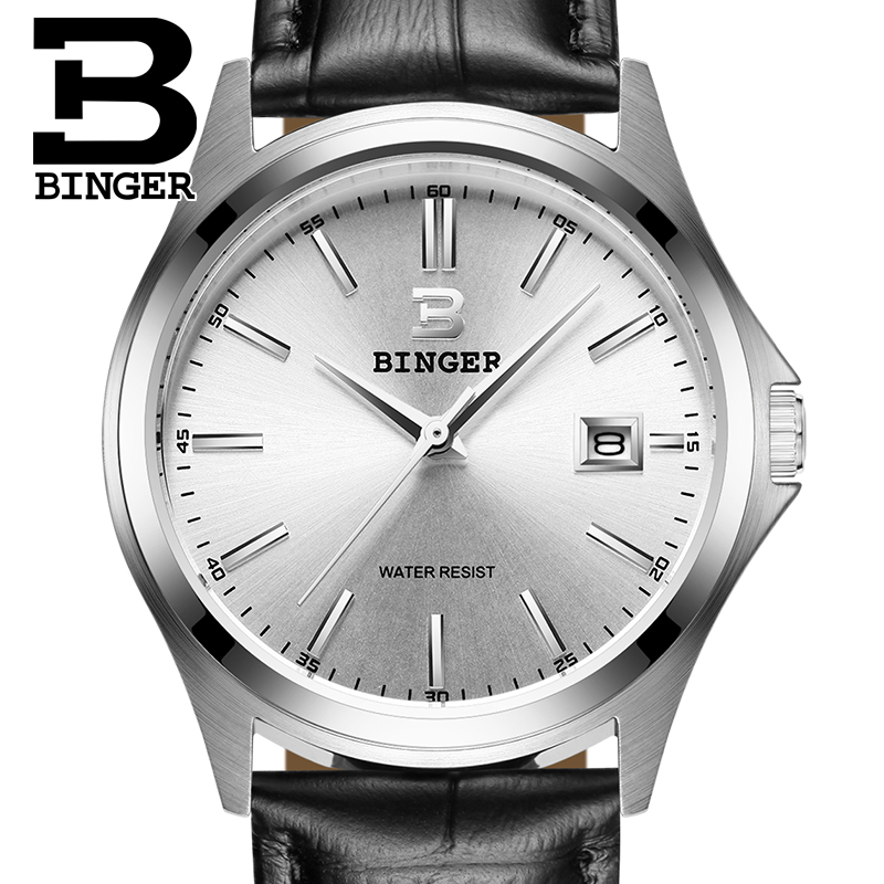 2017 Switzerland luxury watch men BINGER brand quartz full stainless clock Waterproof Complete Calendar Guarantee B3052A3 2016 switzerland luxury watch men binger brand quartz full stainless wristwatches waterproof complete calendar guarantee b3052b6