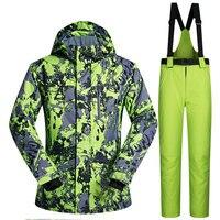 Men Ski Suit Brands 2018 New High Quality Windproof Waterproof Warmth Clothing Ski Jacket Men Snow Set Winter Snowboarding Suits