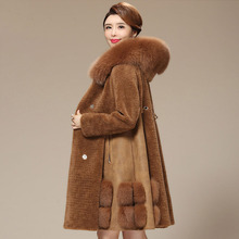 Real wool coat women natural fox fur collar hooded