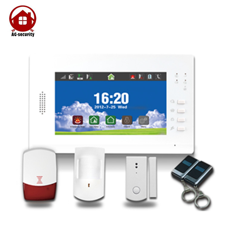 GSM Wireless Home Alarm System Touch Panel with Full touch screen 868mhz alarm 868mhz wireless gsm alarm system 7 inch touch screen home alarm with bulit in lithium battery with wireless outdoor solar siren