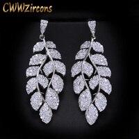 CWWZircons Brand Top Quality Miro Pave CZ Cubic Zirconia Stones Leaf Shape Long Dangle Drop Earring For Women CZ218