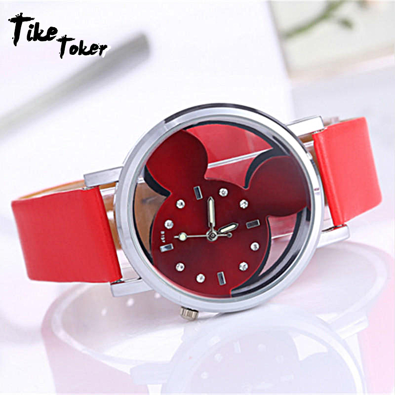 TIke Toker,Feminino Luxo 2018 Ladies Watch With Crystals Clocks Women Luxury Quartz With Leather Mickey Mouse Kad N Saatleri New