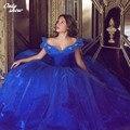Clássico Cinderela Azul Royal Vestidos Quinceanera vestido de Baile Off The Shoulder Organza Lace-up Doce 16 Vestido Vestidos De 15