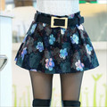 2016 Spring New Korean Fashion Autumn Ladies Woolen Skirts Pleated Skirts Embroidered Skirt  Plus Lining Mini Skirts Blue A80309