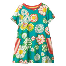 ФОТО floral dresses for 2-7t girls clothing with pockets 2018 summer fashion children clothes jersey cotton girls dresses kids