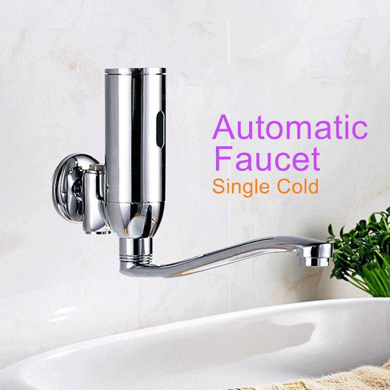 Chrome Plated Automatic Sensor Faucets Single Cold Water