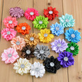 Free shipping , 200 pcs Small satin Flowers with rhinestone embellishment - to make vintage flower headbands - hairclips