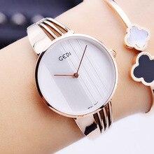 GEDI Moda Mujeres Top Marca de Lujo de Relojes de Oro Señoras Reloj De Cuarzo Simple Reloj Famoso Reloj Relogio Feminino Hodinky XFCS Nuevo