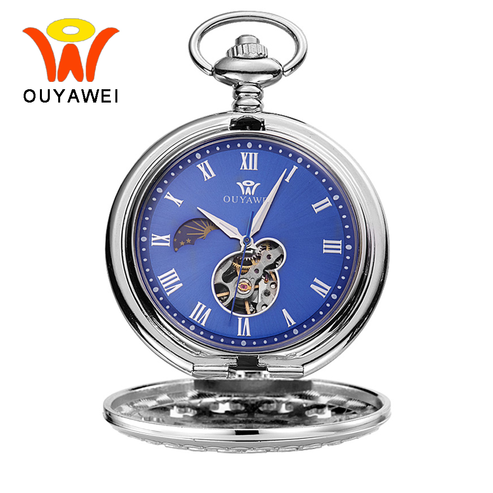 Ouyawei Vintage Blue Automatic Mechanical Moon Phase Pocket Watches With Chain Skeleton Dial Men Clock Necklace Pocket Fob Watch otoky montre pocket watch women vintage retro quartz watch men fashion chain necklace pendant fob watches reloj 20 gift 1pc