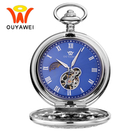Ouyawei Vintage Blue Automatic Mechanical Moon Phase Pocket Watches With Chain Skeleton Dial Men Clock Necklace Pocket Fob Watch