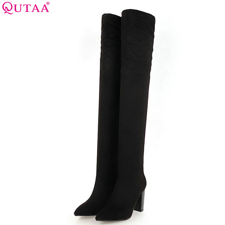 QUTAA 2019 Women Over The Knee High Boots Square High Heel All Match Flock Winter Shoes Women Motorcycle Boots Big Size 34-43 2016 fashion gray flock winter long boots elegant women shoes square low heel over the knee boots women boot size 34 43 concise page 4