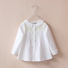 Girl Spring Autum Long Sleeved Shirt Lace White Cotton Children Clothing For Kids 3-7Y