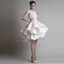 Stylish Quick Cocktail Clothes 2016 Appliques Horny Sheer Again Mini Tutu Tulle Skirts Ball Robe Promenade Social gathering Costume Gown De Cocktail